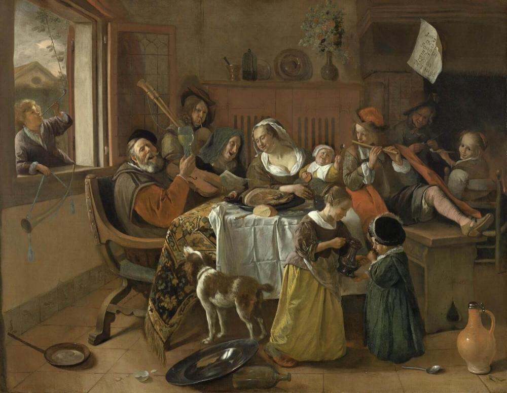 Jan Steen - 1668 - Rijksmuseum (Amsterdam), ook Soo de ouden songen, pijpen de jongen